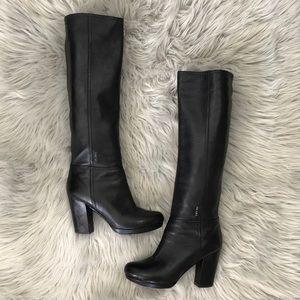 Prada Nappa Leather Knee High Boots metal logo